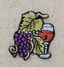 Iron On Embroidered Applique Patch Red Wine Glass with Grape Cluster Vine SMALL