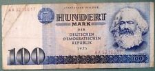 EAST GERMANY DDR GDR 100 MARK  NOTE FROM 1975,  P 31 a, MARX, WIDE SERIAL #