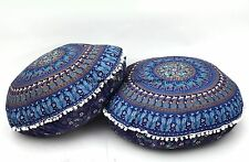 2 PC Round Elephant Mandala Tapestry Floor Pillow Cover Ottoman Large Seating