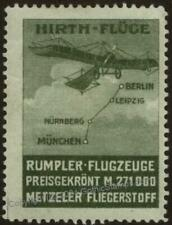 Germany ca1910s Metzeler Advertising Auto Airplane Original Poster Stamp 102856