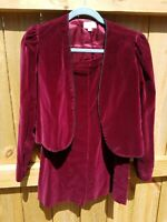 Vintage JOHN MEYER VELVET JACKET & SKIRT SET - Size 6 Burgundy 60s 70s Velveteen