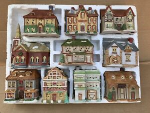 1991 Set of 10 National Rennoc Christmas Collectibles Scrooge Village Houses