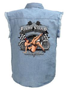 Mens Biker Pinup Babe Motorcycle Blue Denim Sleeveless Cutoff Biker Shirt