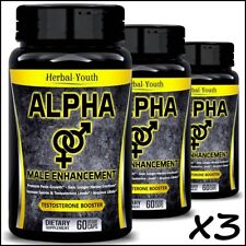 3 x ALPHA MALE BIGGER PENIS Thicker Longer Harder Volume BEST Enlargement Pills
