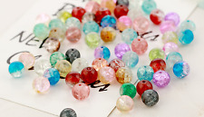 100PCS Crystal Crack Glass Round Loose Spacer Mixed Beads Charms 8mm Wholesale