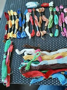 Lot of 24 DMC Embroidery Floss Skeins plus 17 black clarks + 20 misc