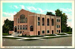 "Emporia, Kansas Postcard ""Grace Methodist Episcopal Church"" Street View c1930s"