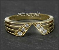 Diamant Damen Ring, 585 Gold, 0,18ct Brillanten, Vintage Bandring um 1960
