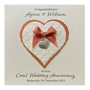 Handmade PERSONALISED Coral 35th Wedding Anniversary Card - Heart Charm