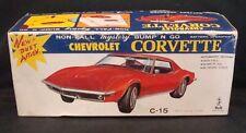 """Vintage 1970 Taiyo Orange/Yellow """"Chevrolet Corvette"""" Tin Toy Car W/ Bump N Go!"""