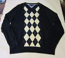 Used Men's Tommy Hilfiger Sweater Argyle L Navy Blue V-Neck Cotton