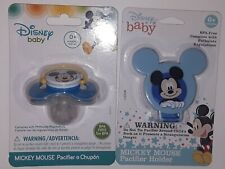 Disney Baby Mickey Mouse Pacifier and Holder Lot-Bundle of 2 (BPA Free)