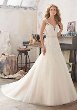 MORI LEE BRIDAL GOWN #8117 IVORY SOFT TULLE WEDDING DRESS A-LINE BEADED SIZE 8