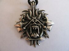 NEW PEWTER HELL RAISERS HELL'S GATE SKULL NECKLACE WITH ADJUSTABLE BLACK CORD