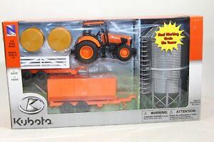 Kubota 1:32 G Scale M5-111 TractorM-11 Wagons & Grain Bin Set New Ray 12 Pcs