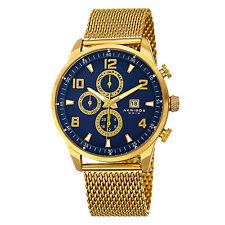 New Men's Akribos XXIV AK784YGBU Swiss Multifunction Stainless Steel Mesh Watch
