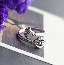 C06 Ring Zepter Krone gebogen Sterling Silber 925 größenverstellbar