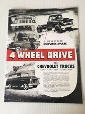 New Sales Price Brochure 1955 1956 NAPCO Chevy GMC Truck Half 3/4 1 And 2 Ton