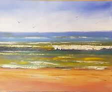 Abstract Impressionist Seascape Beach Waves Painting Original Art Rod Moore
