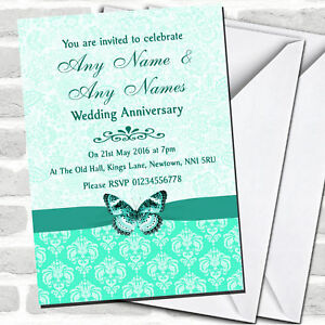 Mint Green Vintage Floral Damask Butterfly Anniversary Party Invitations