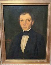 Antique French Gentleman Tuxedo Oil Portrait Painting Leon Du Paty 19th C 1800s