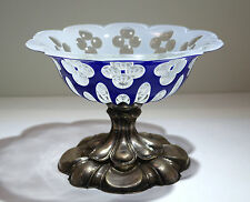 Bohemian Moser Cobalt Blue Clear Sandwich Glass Bowl 800 Silver Centerpiece