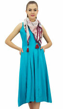 Bimba Women's Designer Rayon Dress With Pockets Solid Aqua Maxi With Scarf