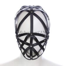 Faux Leather Hollow Mask Headgear Head  Restraint Harness Roleplay Sexy Slave