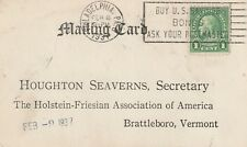 1937 postcard with stamp Franklin from Phildelphia to Brattleboro, Vermont