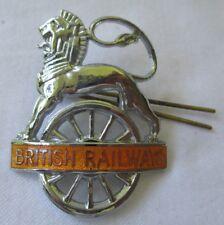 BRITISH RAILWAYS LION OVER WHEEL CAP BADGE IN ORANGE EX++
