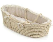 Badger Basket Natural Moses Basket with Beige Gingham Bedding 00892 New