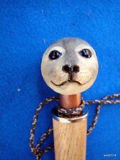 handmade golden OAK *BABY-HARP-SEAL* CANE/walking stick COPPER-collar~gift