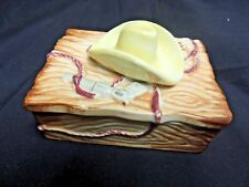 Vintage Ceramic Cowboy Trinket Box Hat Rope 6 Shooter Lasso Western Japan Fun