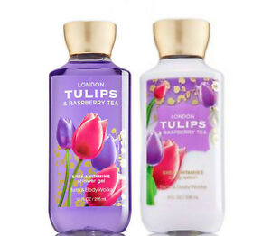 Bath & Body Works London Tulips & Raspberry Tea Body Lotion +Shower Gel Duo Set