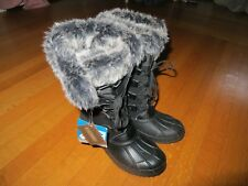 NEW Khombu women's black duck snow boots fur trim 7.5 NWT Ski Team waterproof