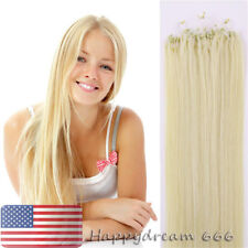 Micro Ring Bead Loop Tip Hair Extensions Brazilian Remy Human Hair Blonde 22Inch