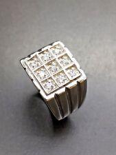 9ct White Gold CZ Signet Ring