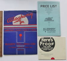 Vtg Allegheny Steel Brass Corp 1938 Lamp Parts Tubing Catalog Price List Poster