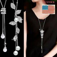 Women Long Silver Tassel Pearl Flower Pendant Necklace Chain Sweater Jewelry NEW
