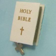 Dollhouse White Bride's Bible Cross bookmark 4703 Jacquelines Miniature
