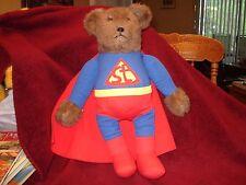 "VTG 16"" x 7"" ST BROWN TEDDY BEAR SUPER MAN SUPERMAN STUFFED  PLUSH W CAPE"