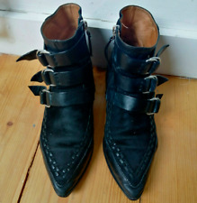 Isabel Marant Rowi Leather Suede Buckle Biker Low Ankle Boots Shoes 37 UK4