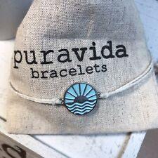 Enamel Charm On White Adjustable Bracelet New Puravida Sunrise To Sunset Blue