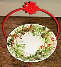 "HALLMARK CHRISTMAS PLATE 8.5"" w/ RED METAL STAND PINE CONES BERRIES EUC"