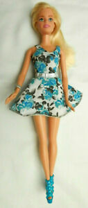 Barbie Doll in Blue Flowered Dress and Strapped Platform Shoes Blonde 2014