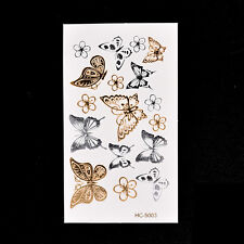 Flash Fake Temporary Tattoo Sticker Butterfly Arm Body Waterproof Women Art ECOV