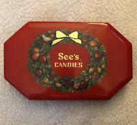 Vintage SEE'S CANDIES tin, Christmas Holiday Wreath circa 1994