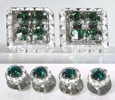 Tuxedo Square Emerald Cufflinks & Round Studs Made With Austrian Crystals