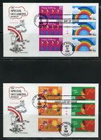 UNITED STATES 1986 SPECIAL OCCASIONS BOOKLET PANES ON TWO FIRST DAY COVERS