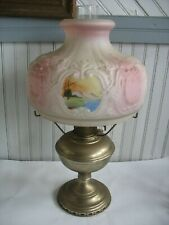 ANTIQUE ALADDIN  MODEL NO. 11 mantle oil lamp w handpainted glass shade